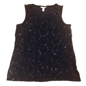 Charter Club Tops - Charter Club Blue Sequin Sleeveless Tank Small